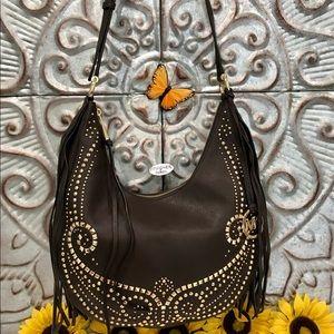 MK Rhea Studded Slouchy Med Shoulder Bag Brown EUC